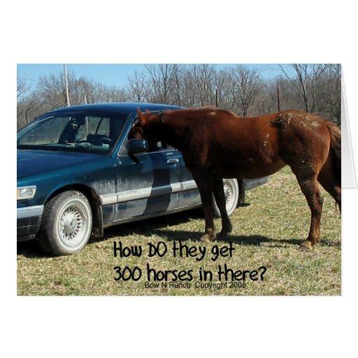 """Caballo divertido del caballo """"300 """" tarjeta de felicitación"""