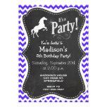 Caballo en Chevron violeta azul; Ecuestre Invitaciones Personales