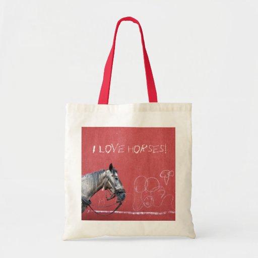 Caballo en fondo rojo bolsa de mano