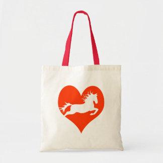 Caballo en mi corazón (blanco en rojo) bolsa tela barata