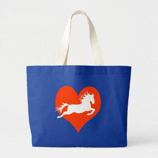 Caballo en mi corazón (blanco en rojo) bolsa tela grande