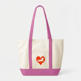 Caballo en mi corazón (blanco en rojo) bolsa tela impulso