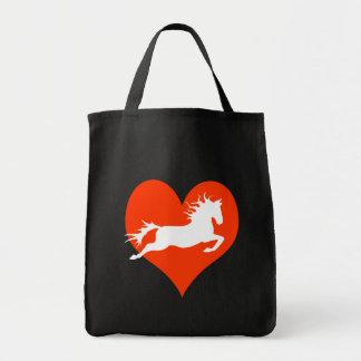 Caballo en mi corazón (blanco en rojo) bolsa tela para la compra