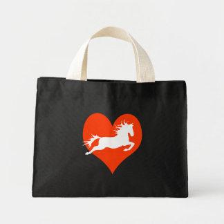 Caballo en mi corazón (blanco en rojo) bolsa tela pequeña
