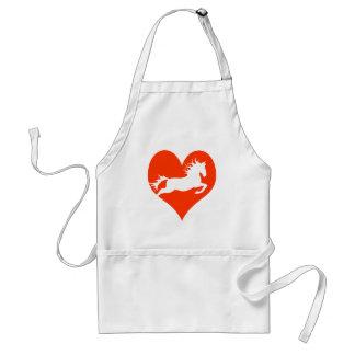 Caballo en mi corazón (blanco en rojo) delantal