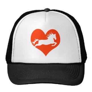 Caballo en mi corazón (blanco en rojo) gorras de camionero