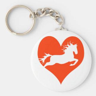 Caballo en mi corazón (blanco en rojo) llavero redondo tipo pin