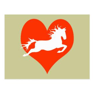 Caballo en mi corazón (blanco en rojo) postal