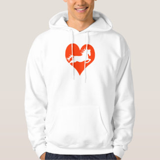 Caballo en mi corazón (blanco en rojo) sudadera con capucha