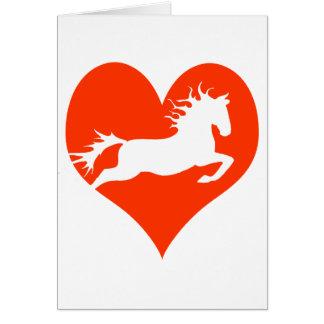 Caballo en mi corazón (blanco en rojo) tarjeta de felicitación