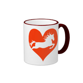 Caballo en mi corazón (blanco en rojo) taza de dos colores