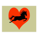 Caballo en mi corazón (negro en rojo) tarjetas postales
