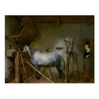 Caballo en un establo, c.1652-54 (aceite en el pan tarjeta postal