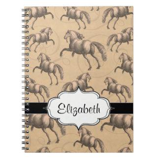 Caballo español galopante elegante spiral notebooks