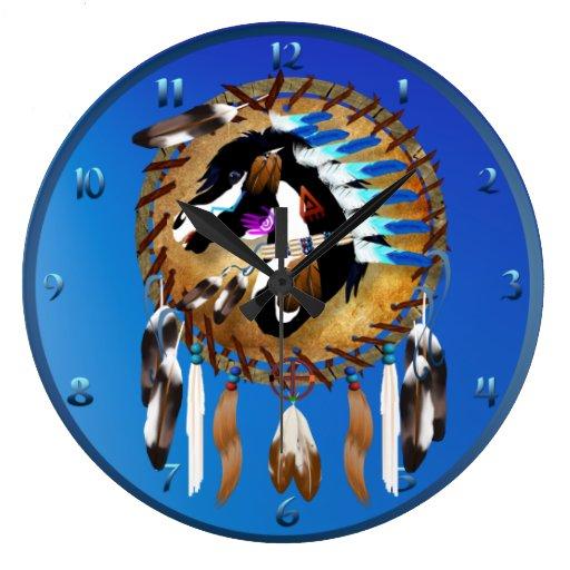 Caballo espiritual reloj redondo grande