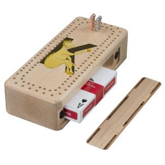 Caballo flexible del monograma K personalizado Cribbage De Arce