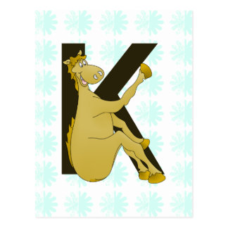 Caballo flexible del monograma K personalizado Postal