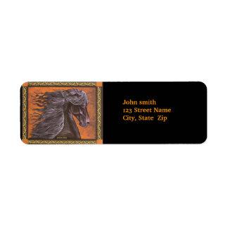 Caballo frisio etiquetas de remite