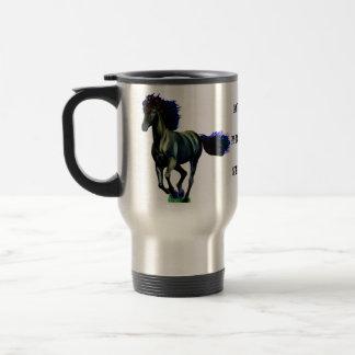 Caballo galopante taza de viaje de acero inoxidable