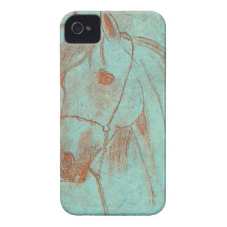 Caballo grabado cobre verde envejecido Case-Mate iPhone 4 carcasa