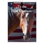 Caballo graduado lindo de la graduación - granja d felicitación