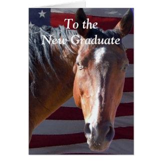 Caballo graduado lindo de la graduación - granja tarjeta de felicitación