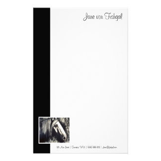 Caballo gris con la frontera negra papelería personalizada