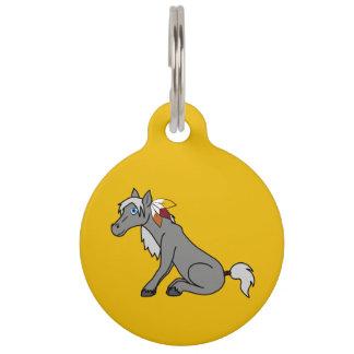 Caballo gris de la acción de gracias con las identificador para mascota