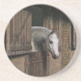 Caballo gris en la puerta estable posavasos de arenisca