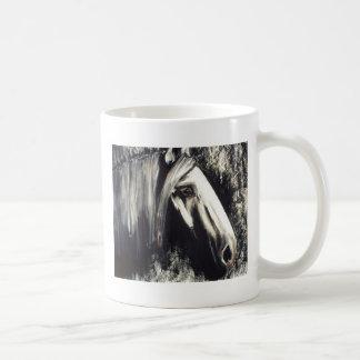 Caballo gris taza básica blanca