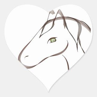 Caballo hermoso con los ojos verdes originales pegatina de corazón personalizadas