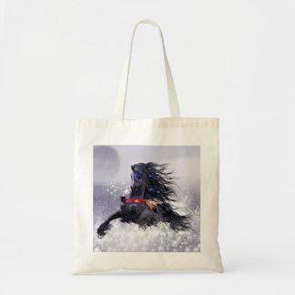 Caballo indio del semental majestuoso azul negro bolsa tela barata