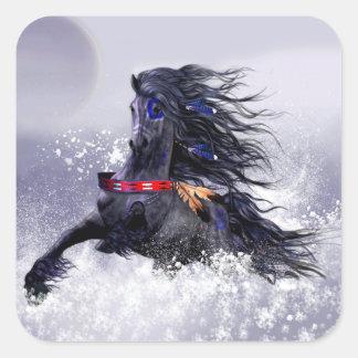 Caballo indio del semental majestuoso azul negro pegatina cuadrada