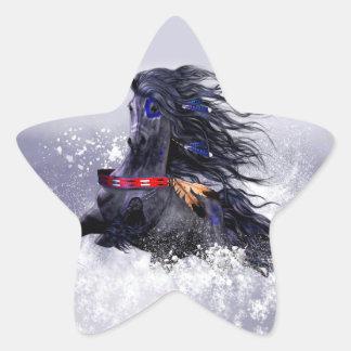 Caballo indio del semental majestuoso azul negro pegatina en forma de estrella