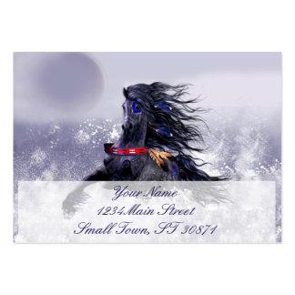 Caballo indio del semental majestuoso azul negro tarjetas de visita grandes
