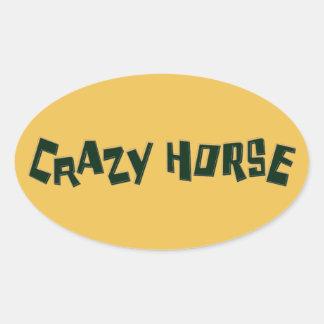 caballo loco pegatina ovalada