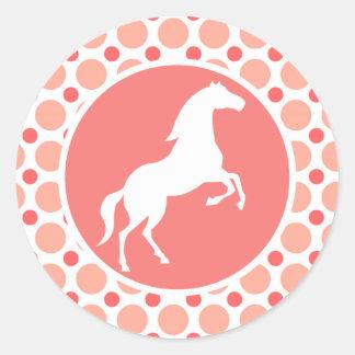 Caballo; Lunares rosados y coralinos Pegatina Redonda