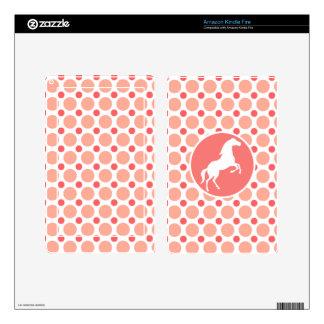 Caballo; Lunares rosados y coralinos Kindle Fire Pegatina Skin