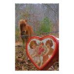 Caballo marrón miniatura del corazón de la tarjeta papelería de diseño