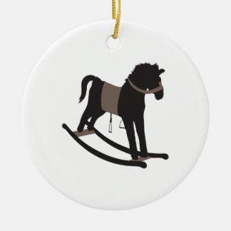 Caballo mecedora adorno navideño redondo de cerámica