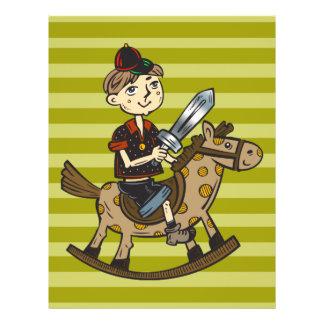 """Caballo mecedora del montar a caballo del muchacho folleto 8.5"""" x 11"""""""