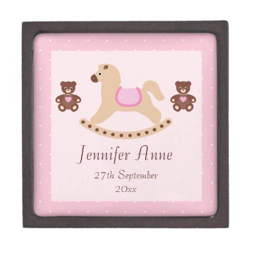 Caballo mecedora rosado y bebé de los peluches cajas de regalo de calidad