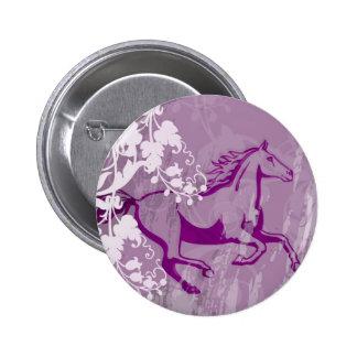 Caballo místico del jardín (Lt. Púrpura) Pin Redondo De 2 Pulgadas
