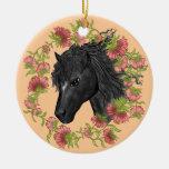 Caballo negro del Bellflower Ornamento De Navidad