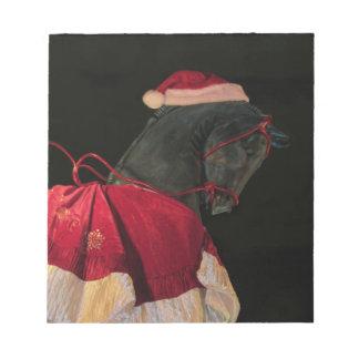 Caballo negro del semental de las Felices Navidad Bloc