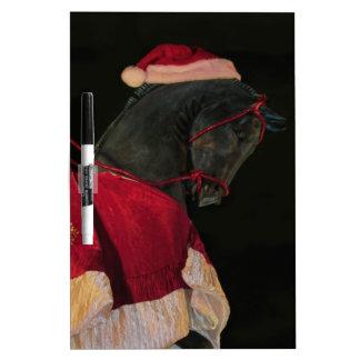 Caballo negro del semental de las Felices Navidad Pizarra Blanca