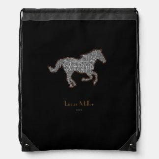 caballo negro elegante personalizado mochilas