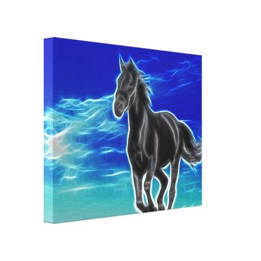 Caballo negro en la lona envuelta viento impresión en lienzo