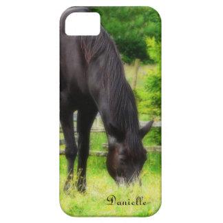 Caballo negro hermoso que pasta en prado verde iPhone 5 carcasas