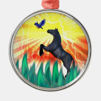 Caballo negro que se alza, hierba del semental de  ornamento de reyes magos